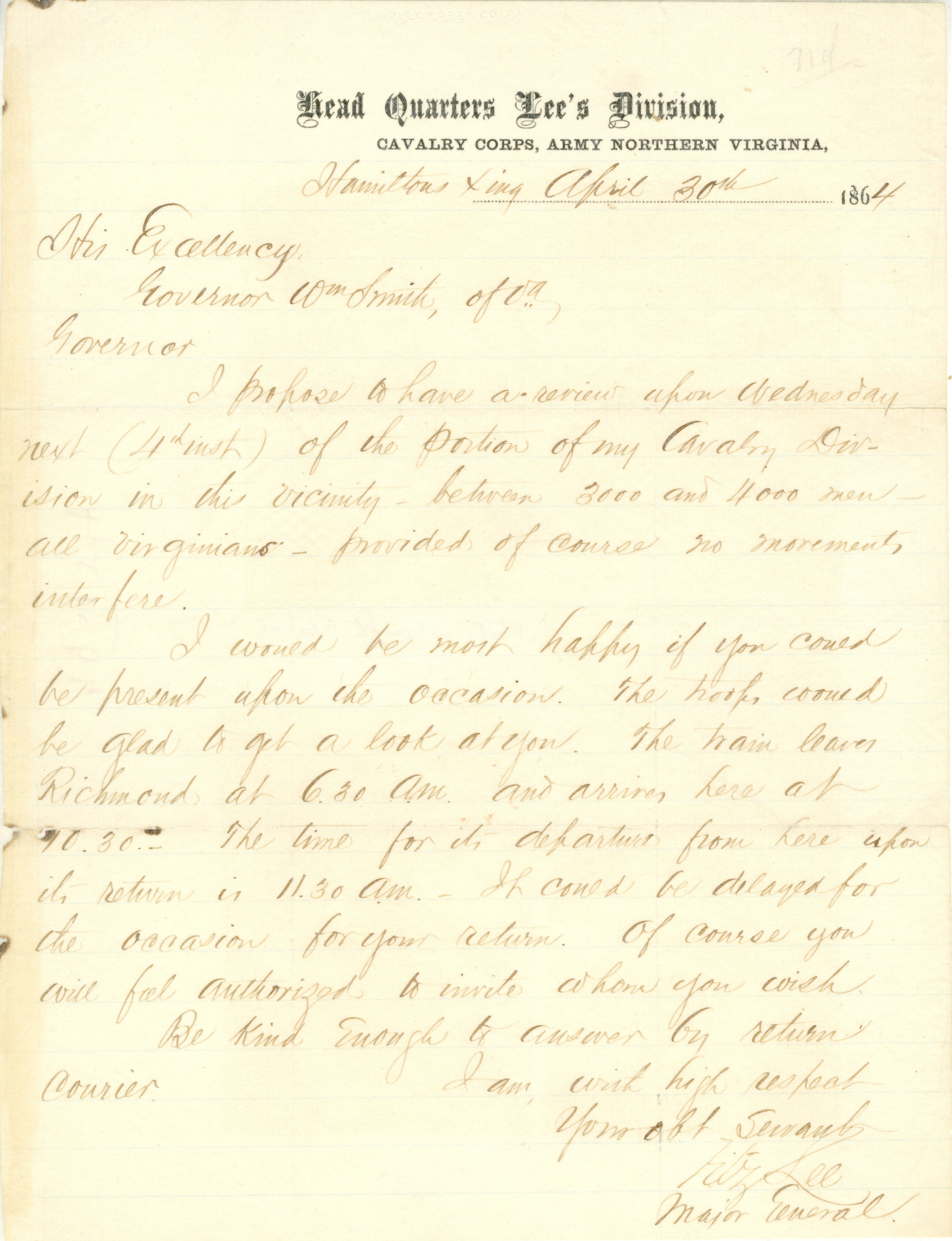 1864 Apr 30 Fitzhugh Lee to William Smith